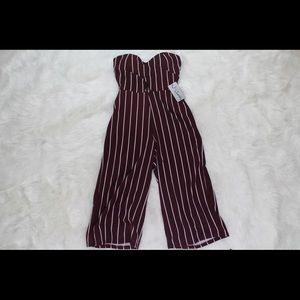 Wine Striped Jumpsuit